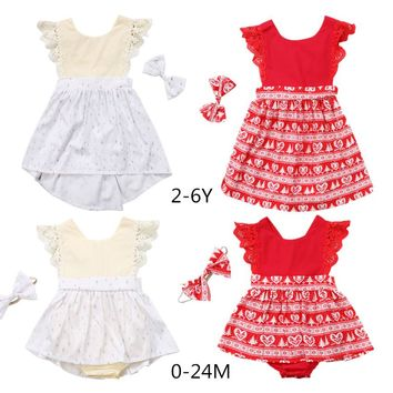 Pudcoco 2017 Christmas Baby Girls Tollder Family Matching clothe Kid Xmas Lace Backless Romper Dress Princess Party Dresses 0-6Y