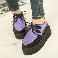 Ladies Platform Lace Up WomensTrendy Retro Flat Creepers Punk Shoes18Style SY37