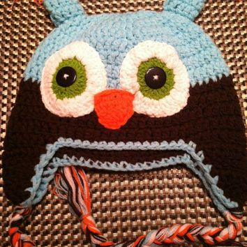 CROCHET HAT -  BLUE / BROWN OWL
