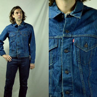 Vintage 70's Levis Two Pocket Dark Denim American Made Denim Jean Jacket