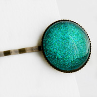 Mermaid Tears Large Round Hair Pin - Turquoise Blue Green Glitter Hair Clip