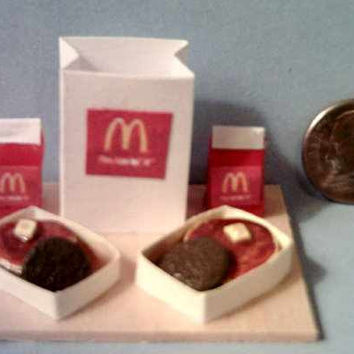 Miniature McDonalds Pancakes And Sausage Food Display Board