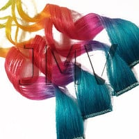 "Save - ON SALE NOW 14"" Rapid Rainbow 100% human hair Clip In Ombre extensions Dip Dye Aqua Blue Lavender Purple Pink Red Orange Yellow Green"
