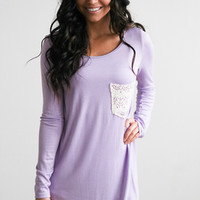 Long Sleeve Crochet Pocket Top - Lilac