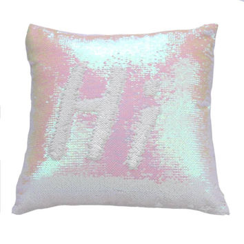 White and Pink Pearl Color Change Sequin Magic Mermaid Pillow