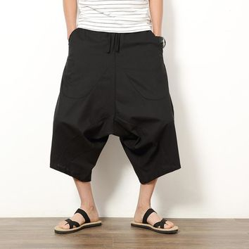 New 2017 Summer Short Men Pants Wide Leg Deep Crotch Harem Pant Male Drawstring Loose Casual Skirt Pants Hip Hop Sweatpants Boys