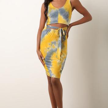 Tie Dye Mid-Section Cutout Dress | UrbanOG