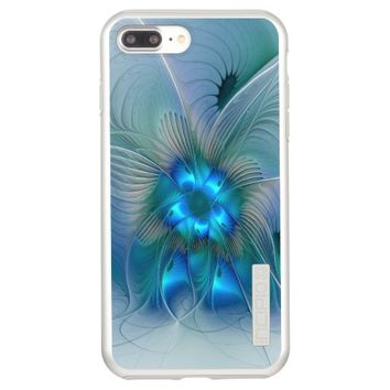 Standing Ovations, Abstract Blue Turquoise Fractal Incipio DualPro Shine iPhone 7 Plus Case