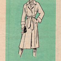 Retro Style Coat Marian Martin Sewing Pattern 80s Trench Jacket Wrap Front Raglan Sleeves Cuffs Uncut FF Bust 34