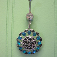 Belly Button Ring - Body Jewelry -Silver Medallion With Black and Blue Crystals and Clear Gem Stone Belly Button Ring