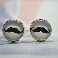 Mustache cuff links ,Curly Moustache Glass Art Cufflinks,Cabochon Mens Accessories,gift for him  (XK4)
