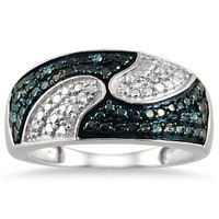 1/10 Carat Blue and White Diamond Ring in .925 Sterling Silver