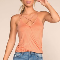 Beach Life Calling Crisscross Top - Peach