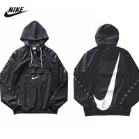 NIKE popular casual men and women with the same type of string logo ribbon matching cap jacket