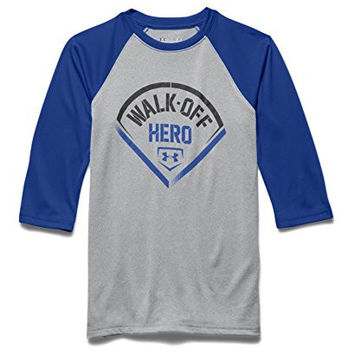 Under Armour Big Boys' UA Walk Off Hero ¾ Sleeve T-Shirt Youth Large True Gray Heather