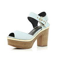 Light blue peep toe platform sandals - heels - shoes / boots - women