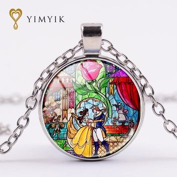 YimYik Glass Picture Pendant Beauty and the Beast Necklace Rose Glass Pendant  Art Pendant For Necklace Women jewelry gifts