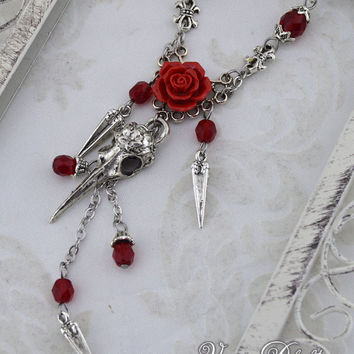Valentines Day Special - Gothic Raven Skull Necklace - Red rose - Steampunk Raven Necklace - Red and Antique Silver