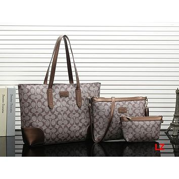 COACH Women Leather Tote Handbag Shoulder Bag Set Three Piece