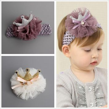 Kids Glitter light chiffon Crown hairpin Hair clips Newborn Toddlers tiara Headbands gold color headwear DIY Hair Accessories J4
