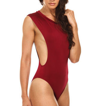 Peek-A-Boo Body Suit (Burgandy)