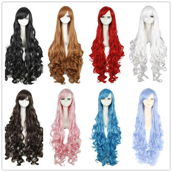 Free Shipping 100cm Synthetic Hair Long Curly White Blonde Pink Red Blue Brown Cosplay Wig Perruque