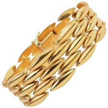 Cartier Navette Shaped Gold Link Bracelet