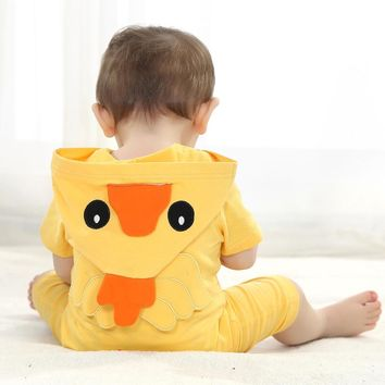 Summer Baby Clothes Short Rompers Cartoon Animal Yellow Duck Cosplay Photo Props Jumpsuit Newborn Infant Sleepers Hooded