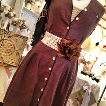 Gypsy Plantation lagenlook prairie mori girl bohemian brown  layering tunic dress size 12 medium