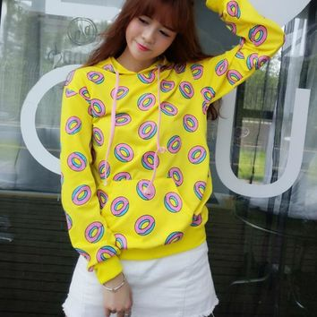 2018 Fashion Women Hoodies Mark Just Right Donut Hoodie Loose Printed Pullover Yellow Colors Sweatershirts Casual Hoodie  15