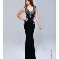Nina Canacci 8041 Jeweled Open Back Black Dress Prom 2015
