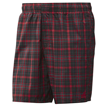 adidas Men's XS Checked Swim Shorts  - Red