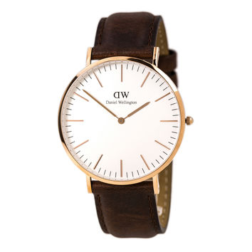 Daniel Wellington 0106DW Men's Classic St. Andrews White Dial Rose Gold Steel Brown Leather Strap Watch