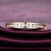 Diamond Wedding Band Half Eternity Anniversary Ring 18K Rose Gold - VS/H Channel Set