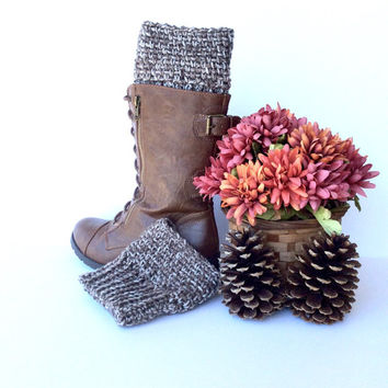 Brown and Tan Crochet Boot Cuffs | Multi Neutral Colored Boot Toppers | Warm Fall & Winter Fashion