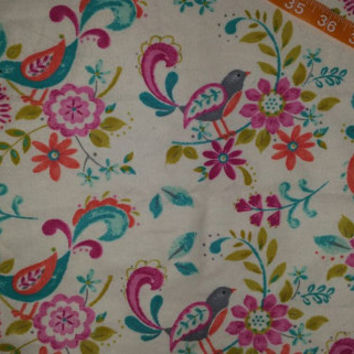 Flannel fabric with flowers birds floral cotton print quilt sewing material to sew for crafting by the yard BTY