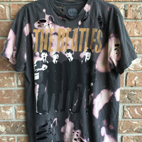 BEATLES large, cut, bleached band tee, destroyed summer tee shirt, soft grunge, distressed, band tee, rock tee, concert tee