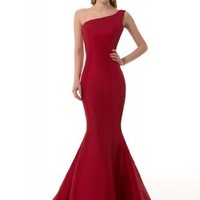 GEORGE DESIGN Brief Elegant Burgundy Mermaid One-Shoulder Evening Dress Size 6 Burgundy