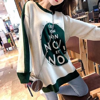 """Dior"" Women Loose Casual Fashion Multicolor Letter Long Sleeve Pullover Sweater Tops"