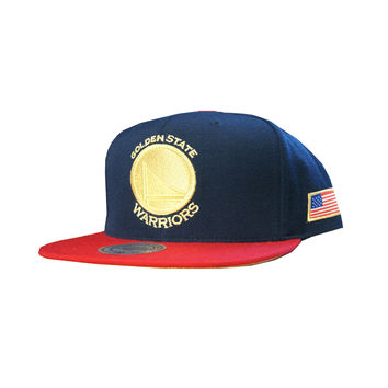 Mitchell & Ness Golden State Warriors USA HI Crown Snapback In Navy/Red