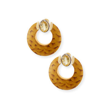 Silvia Furmanovich 18K Gold Marquetry Hoop Earrings with Citrine & Light Brown Diamonds