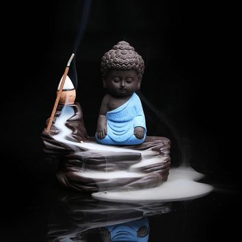 Creative Home Decor Zen Buddha Censer Ceramic Yixing Aroma Backflow Stick Incense Burner Purple Clay Kung Fu Monk Incense Base