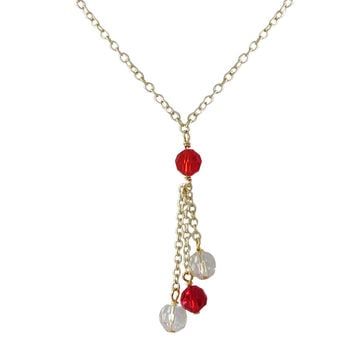Red White 6mm Preciosa Facetted Beaded Gold Tone Brass Necklace