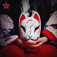Full Face Hand-Painted Japanese Fox Mask Demon Kitsune Cosplay Masque Halloween