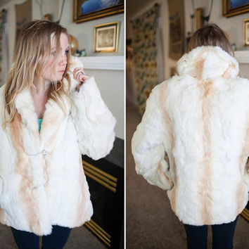 Ladies Medium White Fur Coat, Élan Rabbit Hair Fur Coat, Vintage 80's Cream and White Fur Coat with White Lining