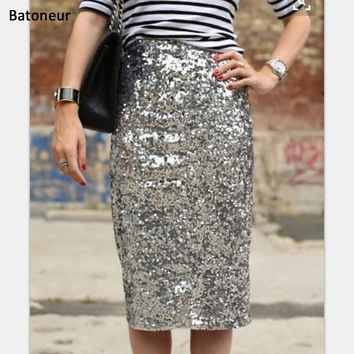 *Online Exclusive* Sequined Pencil Skirt
