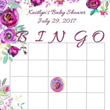 10 Purple Floral Baby or Bridal Shower Bingo Cards