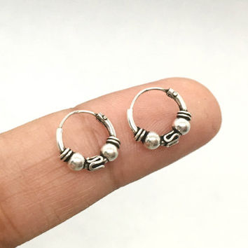 10mm Hoop Earrings, Sterling Silver Bali Hoop, Tiny Hoop Earrings, Tribal hoop, Cartilage Hoop, Helix Hoop Earrings, Tiny hoop earrings
