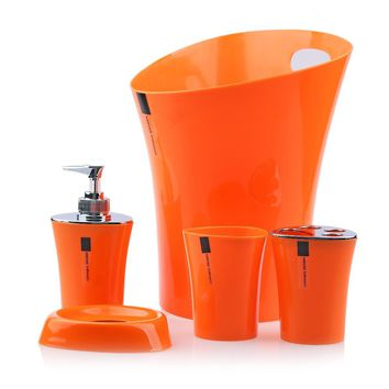 5pcs Bathroom Set Soap Dispenser+Soap Dish+Toothbrush Holder+Tumbler+Waste Bin Plastic Bathroom Accessories