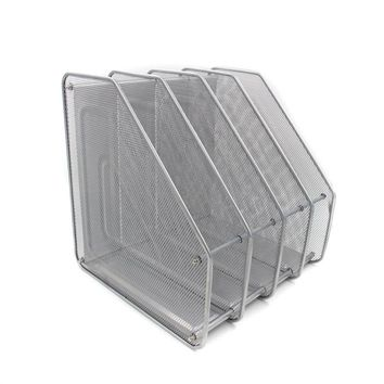 Mesh Metal 4 Compartment Freestanding Desktop Documents / Magazines / Notebooks / Folder Organizer Rack